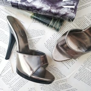 PIERRE DUMAS Metallic Heeled Slide Sandals